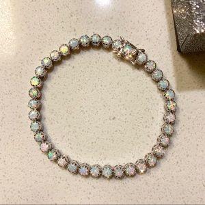 Jewelry - Silver Rhodium Plated Fire Opal Tennis Bracelet